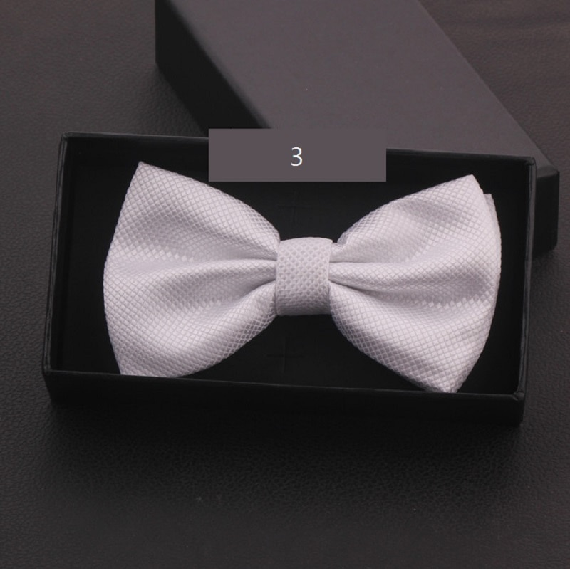 2020 New Fashion Designer Men's Bow Ties Classic Double Fabric Pattern White Bow Tie Banquet Host Butterfly Tie with Gift Box