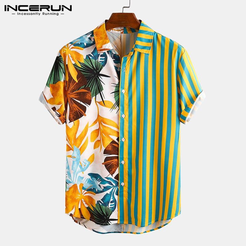 Fashion Men Hawaiian Shirt Short Sleeve Streetwear Print Striped Patchwork Summer Chic Blouse 2021 Beach Camisas INCERUN S-5XL