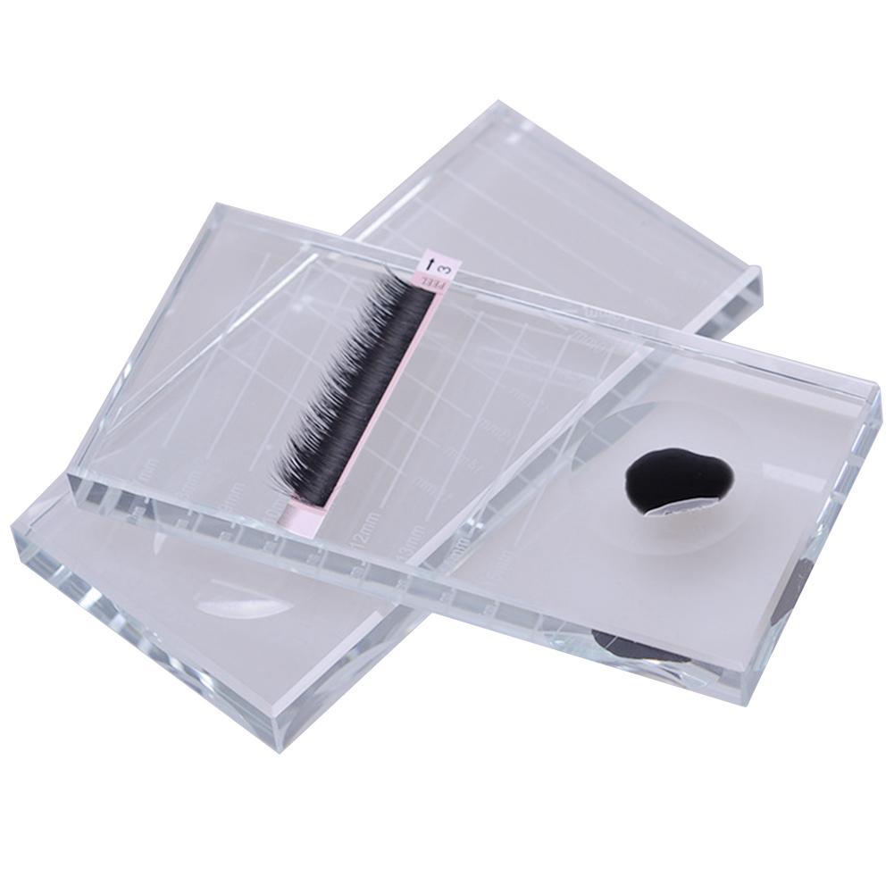 Rectángulo de cristal pestañas postizas soporte de extensión de pestañas palé con material de herramienta de maquillaje a escala hecho con mano de obra fina.