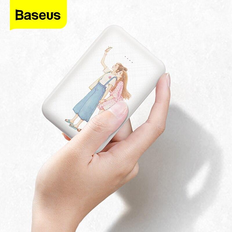Baseus Mini 10000 mAh banco de potencia portátil de tipo C de cargador de 10000 mAh 9 Batería Externa Poverbank para iPhone Xiaomi Mi