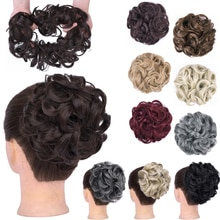 GIRLSHOW Curly Chignon Messy Hair Bun Elastic Hair Accessories Wrap Ponytail Hair Tail Updo Fluffy Hairpieces Heedwear For Women
