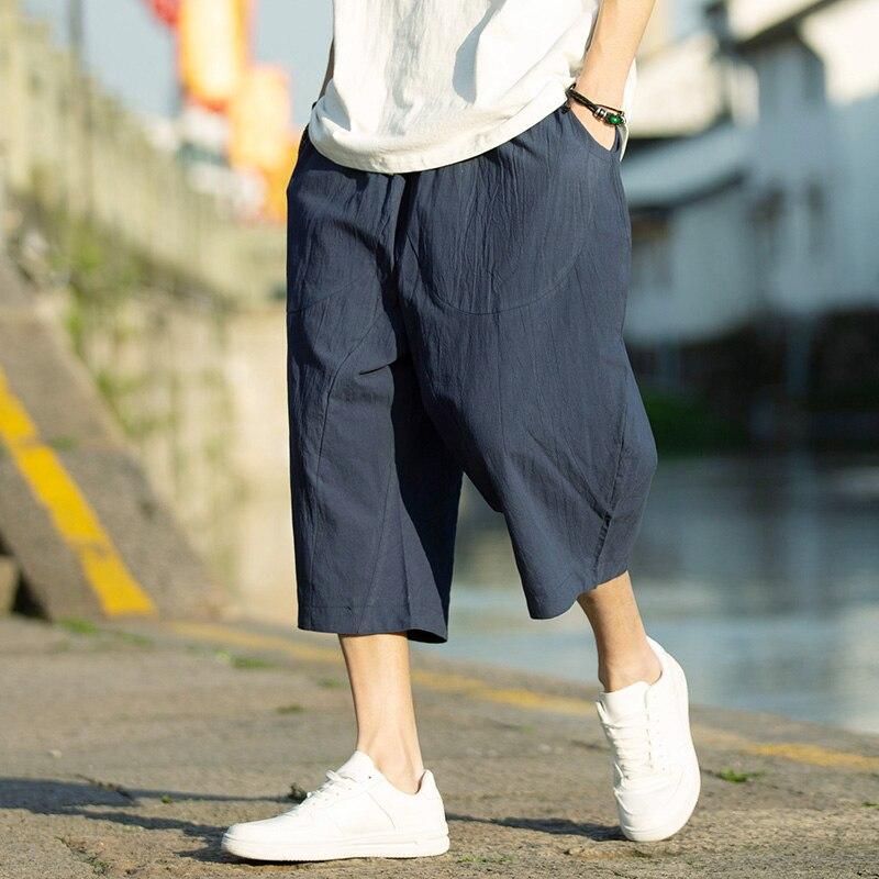 Мужские шаровары в стиле Харадзюку, новинка 2021, мужские летние хлопковые льняные джоггеры, штаны, мужские винтажные спортивные брюки в кита...