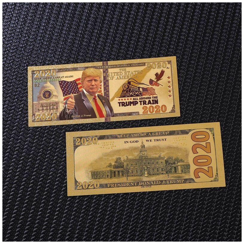 1 unids/lote, Año Nuevo 2020, billetes de Trump de Estados Unidos, billetes de 2020 dólares, billete de banco en papel chapado en oro de 24K para regalos