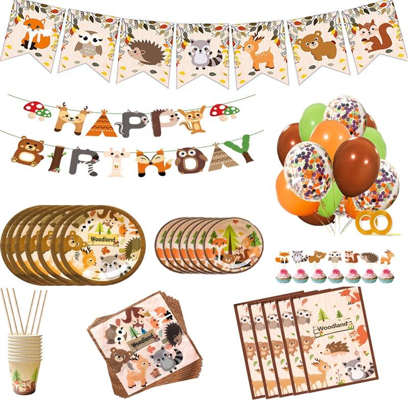 Украшение для дня рождения в лесу, животное, зоопарк, лиса, Лев, слон, одноразовая посуда для мальчиков, топпер для торта