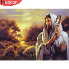 HUACAN 5D bricolage diamant peinture religieux jésus berger plein carré strass point de croix diamant mosaïque cadeau de noël