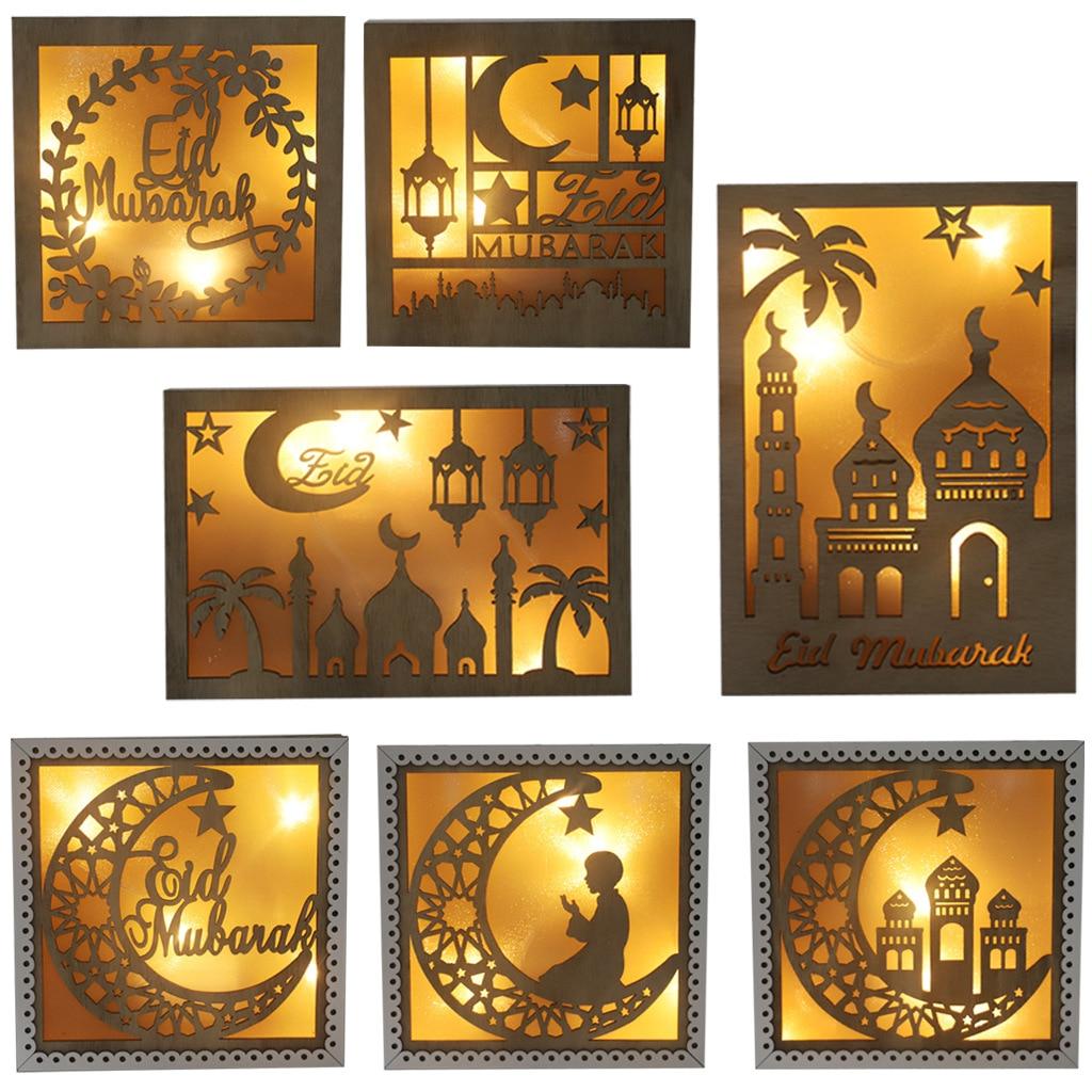 Ramadan Islamic Decors Wooden Frame Lamp Decorate Moons And Stars Wood Photo Frame Lights Eid Mubarak Party Decorations