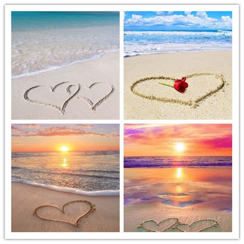 2020 nueva pintura de diamantes Diy paisaje amor playa bordado de diamantes amor paisaje Perforación completa decoración de boda regalo de amante