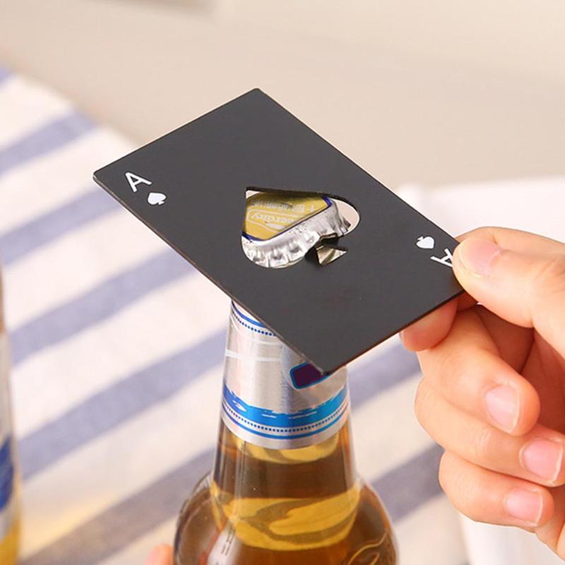 Abrebotellas creativo en forma de póker, Abrebotellas de acero inoxidable, tamaño de...