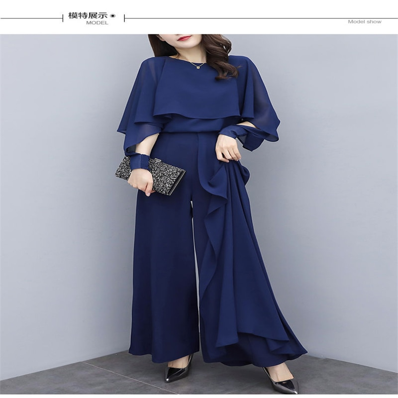 Chiffon two-piece trousers 2021 spring and summer new style, large size fashion, age reduction and thinness, drape wide-leg pant