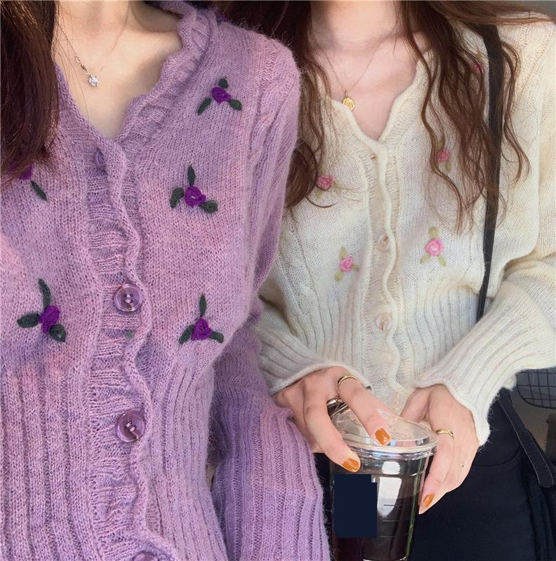 Nueva ropa de otoño, cárdigan sólido para mujer, cárdigan con cuello en V Tridimensional, flor de ganchillo, abrigo de punto, Tops elegantes de moda para mujer