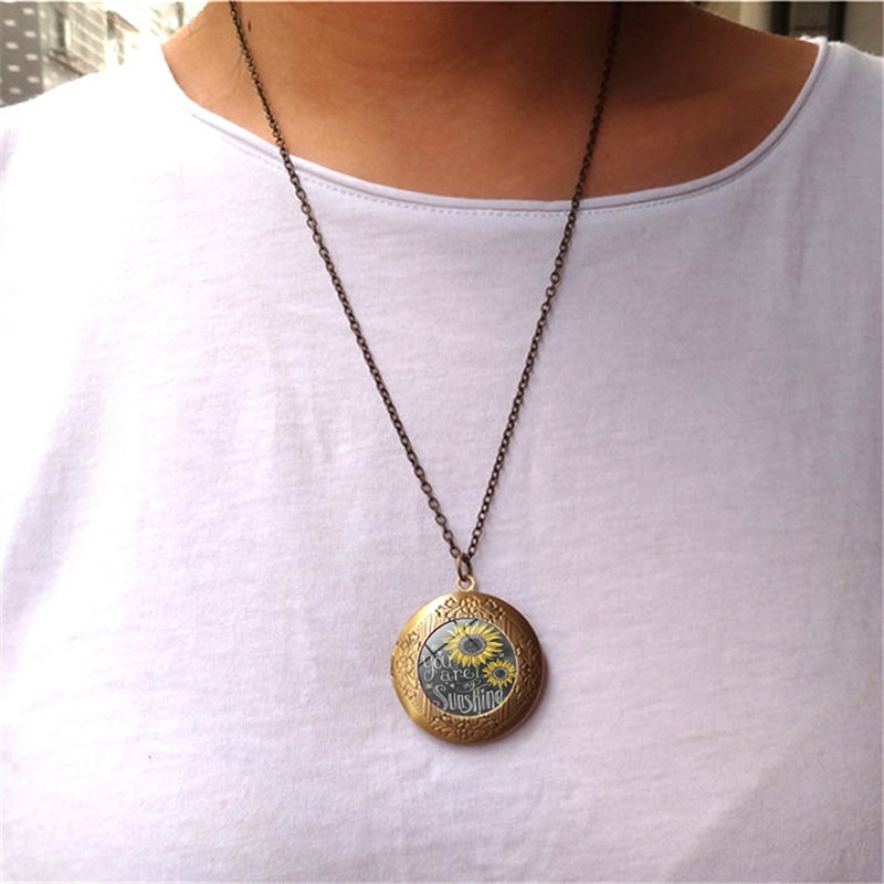Girasol redondo usted es mi sol medallón colgante collar mujeres Vintage antiguo bronce apertura foto caja joyería