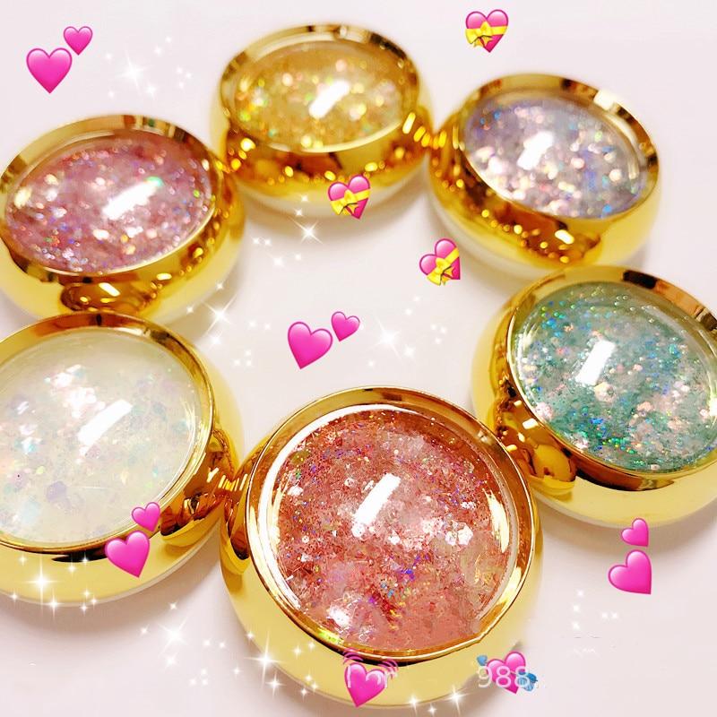 1 Set 6 Box  Holographic Nail Glitter Set Gold Bottle DIY Flake Nail Art Dust Hexagon Glitter Powder Mermaid Sequins For Nail