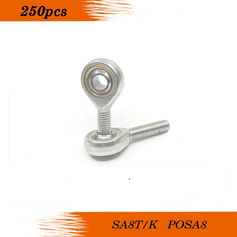 250 قطعة SA8T/K POSA8 SA8TK POSA8 8 مللي متر وصلة كروية رود نهاية تحمل الذكور اليد اليمنى الموضوع الذكور المفاصل محامل