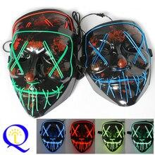 Maski na Halloween maska LED Light Up maski imprezowe Neon maska Cosplay maska Horror Mascarillas blask w ciemności maska V jak Vendetta