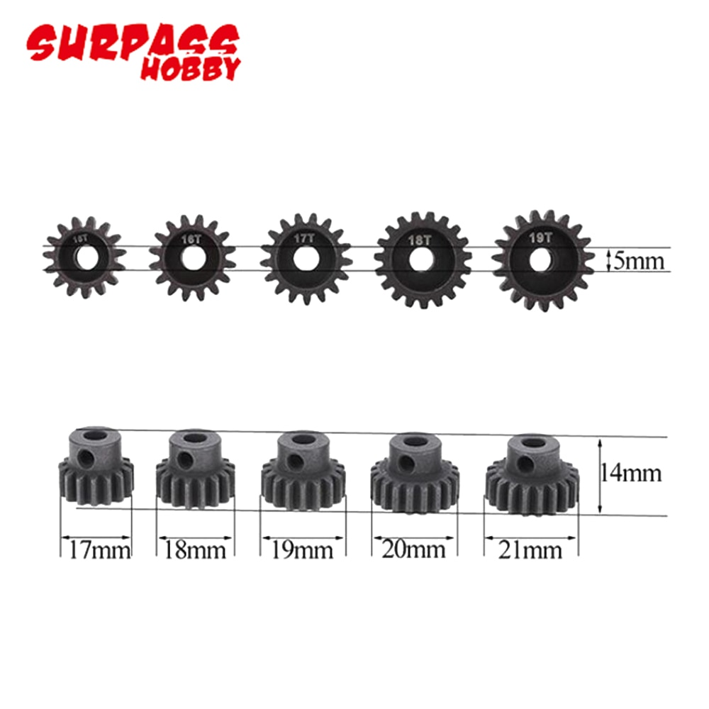 5pcs/lot SURPASSHOBBY M1 5mm 11T-15T/15T-19T/18T-22T Pinion Motor Gear for 1/8 RC Buggy Car Monster Truck enlarge