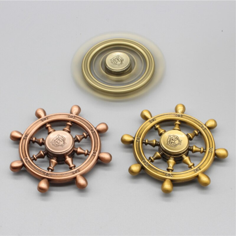 2020 New Cool Vintage Steering wheel Pirate Ship Rudder Finger Spinner Fidget Spinner and Fidget Toy Adult Toys Metal Aluminium enlarge