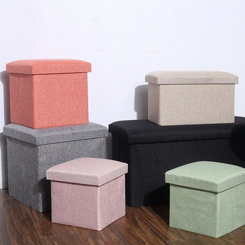 المنزلية تخزين البراز متعددة الوظائف صندوق تخزين قابل للطي القطن و الكتان المنظم النسيج تخزين البراز اكسسوارات المنزل