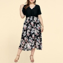 Plus Size Women Casual Dress Elegant V Neck Short Sleeve Summer Dress 2021 New Arrivals Chiffon Folr