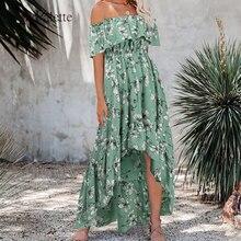 Julypalette Bohemian Summer Dress One Shoulder Ruffles Slim High Waist Floral Printed Beach Sundress
