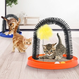 Funny 4 in 1 Turntable Track Scratcher Stick Device Pet Grooming Massage Arch Brush Stress Relief Interative Toy