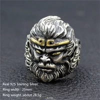 real 925 sterling silver male rock punk jewelry ring cartoon character avatar black gray big circle ring finger for men women