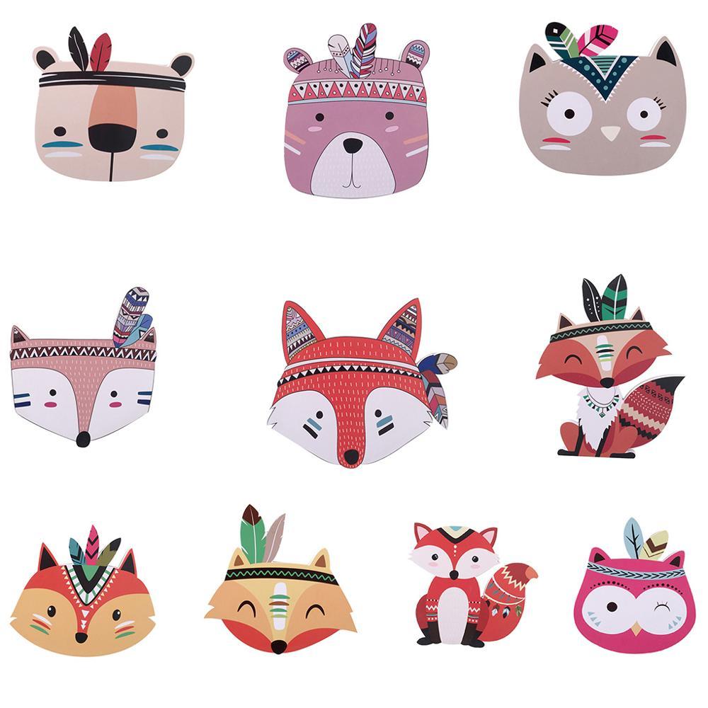 Kids Room Nordic Style Kids Decorations Wood Plastic Board Ornaments Cartoon Animal Head Wall Decor Children Gift