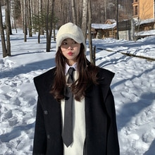 Ladies overcoat hooded long coat autumn and winter over the knee woolen coat