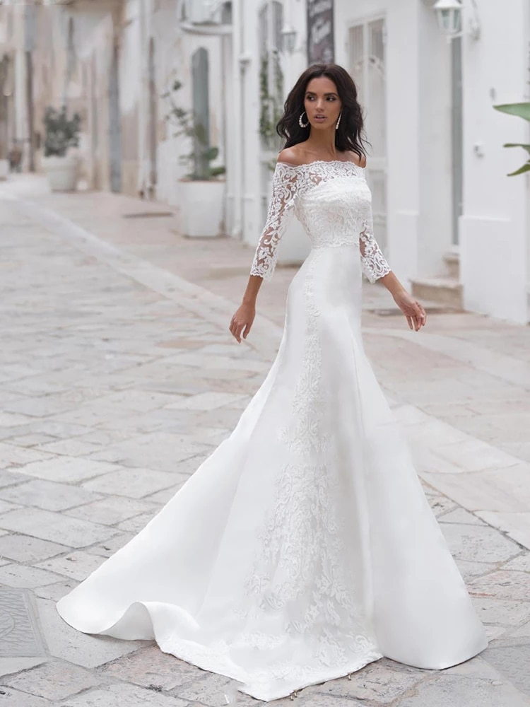 Get Wedding dress Wedding Dress Simple Retro Bridal Dresses White Mermaid Long Sleeve One Word Collar Chiffon Plus Size Tail