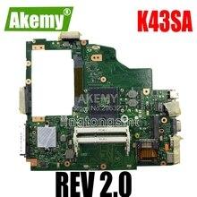 K43SA Carte Mère REV 2.0 HM65 Pour For For For For Asus A43S X43S K43S A43SA K43SA Ordinateur Portable carte mère K43SA Carte Mère K43SA Carte Mère test OK