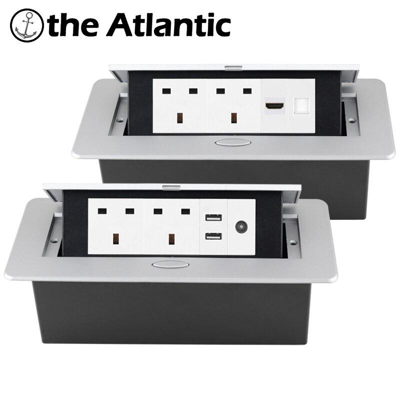 المملكة المتحدة سطح المكتب المقبس راحة قطاع الطاقة المقبس USB RJ45 TV HDMI كونترتوب سطح المكتب المنبثقة الجدول المخرج المدمج في المقبس نوع G