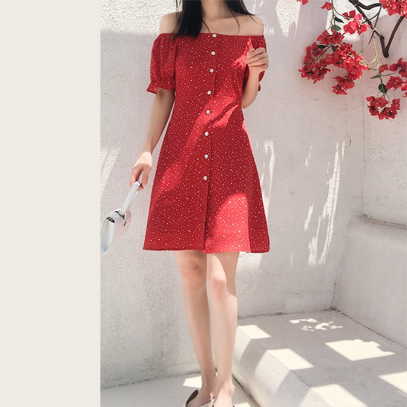 French Retro Red Polka Dot Dress 2021 Summer Women's Clothes New Slim Off-Shoulder Chiffon Dresses Vintage Young Robe Boho Lady