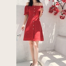 French Retro Red Polka Dot Dress 2021 Summer Women's Clothes New Slim Off-Shoulder Chiffon Dresses V