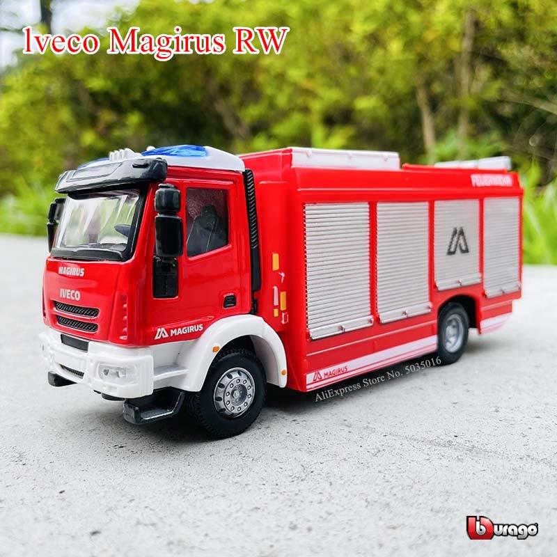 Bburago 1:50 lveco Magirus RW fire грузовик, инженерный транспорт литой металлический детский игрушечный подарок имитация автомобиля из сплава