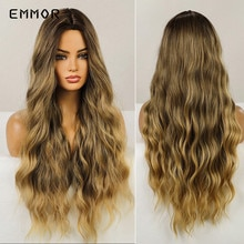 Emmor Long Middle Part Wave Hair Wig for Women Fashion Fluffy Brown Blonde Cosplay Natural Wavy Heat Resistant Synthetic Wigs