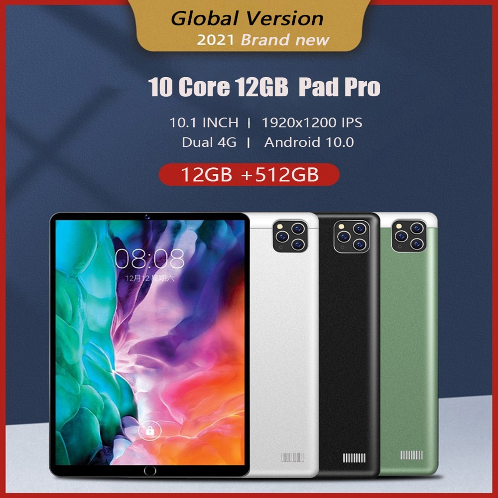 512GB Tablet 10.1inch Tablets 1920x1200 IPS 12GB RAM 512GB ROM Tablet android 10Core Android 10 Dual 4G New Pad Pro Sales