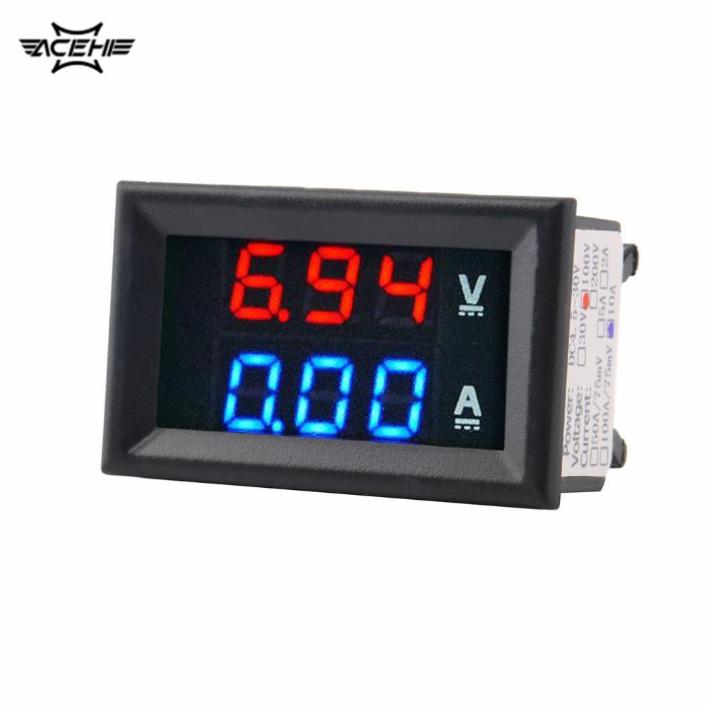 Amperímetro voltímetro ACEHE CC 100V 10A azul + rojo LED Amp doble voltímetro Digital medidor voltaje corriente herramienta de uso doméstico