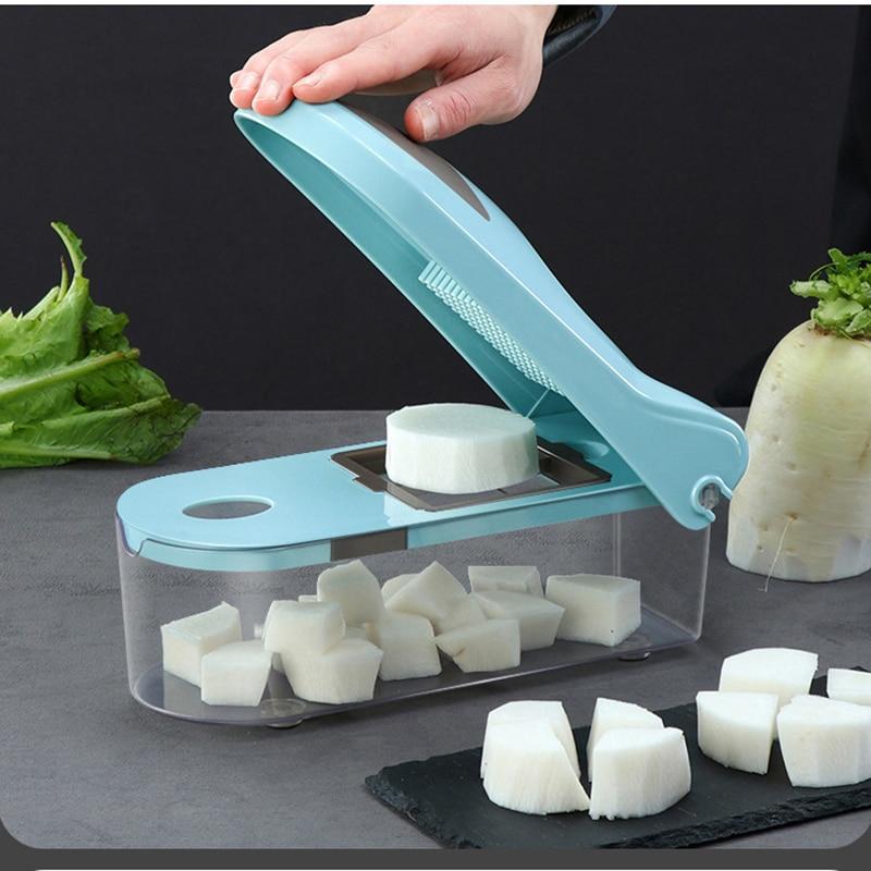 10 En 1 cortador de vegetales de frutas de corte de alimentos de pelador de zanahorias queso rallador rebanador de vegetales para accesorios de cocina