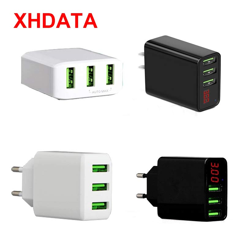 XHDATA XHD3.0 3 interfaces USB diseño de salida adaptador de teléfono móvil 5V carga intelectual rápida (Estándar Americano)