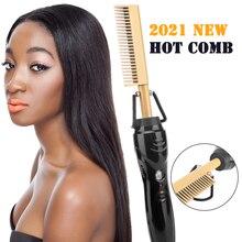 Hair Straightener Flat Irons Straightening Brush Hot Heating Comb Hair Straight Styler Corrugation C