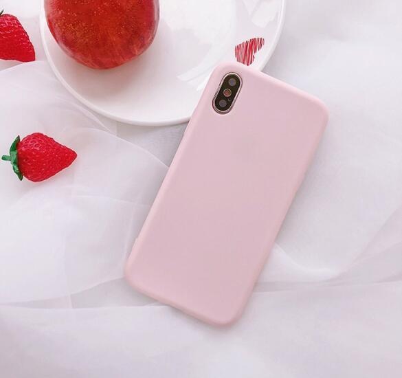 Funda de goma de silicona suave de caramelo fresco de verano para Iphone X Xs Max 6s 7 8plus Xr Mint sólido Tpu caso Anti-knock Back Cover capa