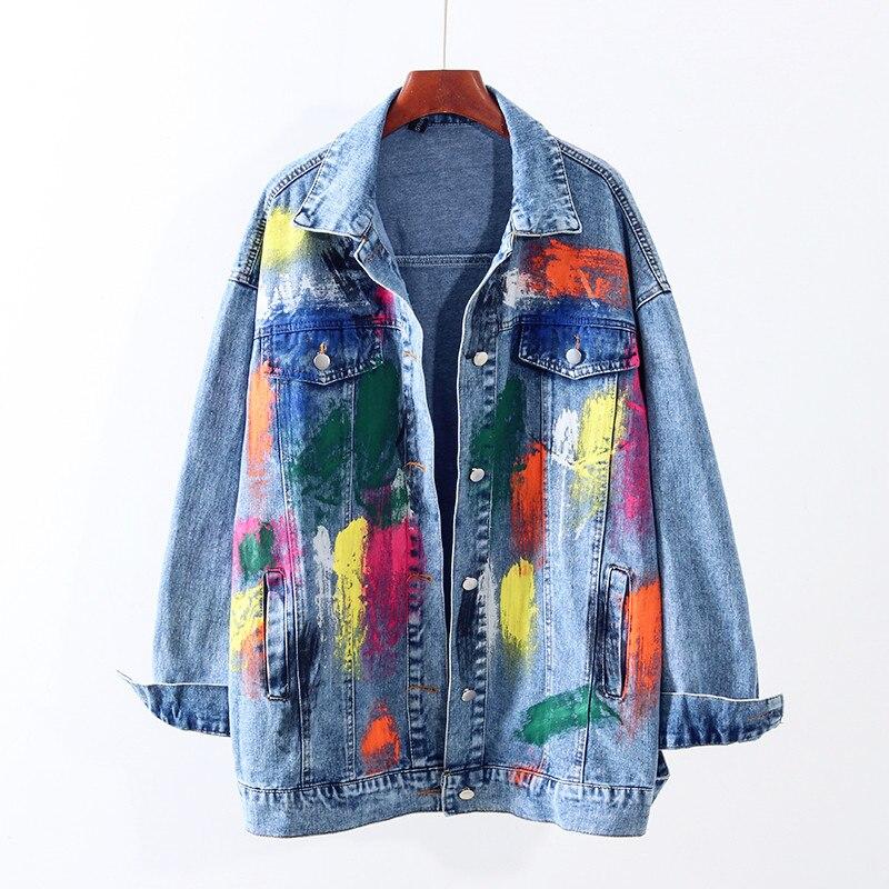 Chaqueta de mezclilla holgada para mujer, chaqueta de mezclilla estilo europeo 2020, primavera Otoño, nueva mano, Color pintado, Graffiti, chaqueta vaquera Vintage, abrigo Tide G341