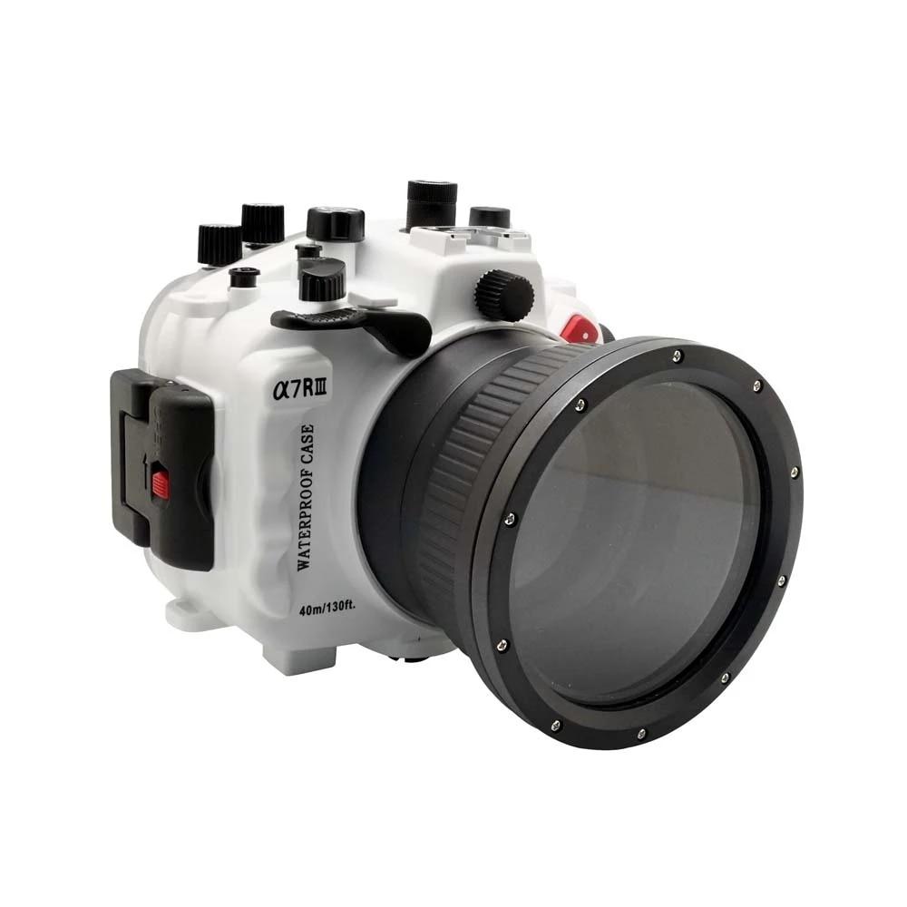 Carcasa de cámara subacuática para Sony A7 III A7R3 A7RIII A7III A7M3 28-70mm, carcasa de caja de buceo, cubierta impermeable blanca, 40m/130ft
