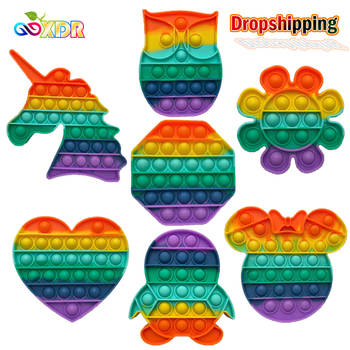 Pop Fidget Reliver Stress Toys Rainbow Push It Bubble Antistress Toys Adult Children Sensory Toy To Relieve Autism Shipping Free