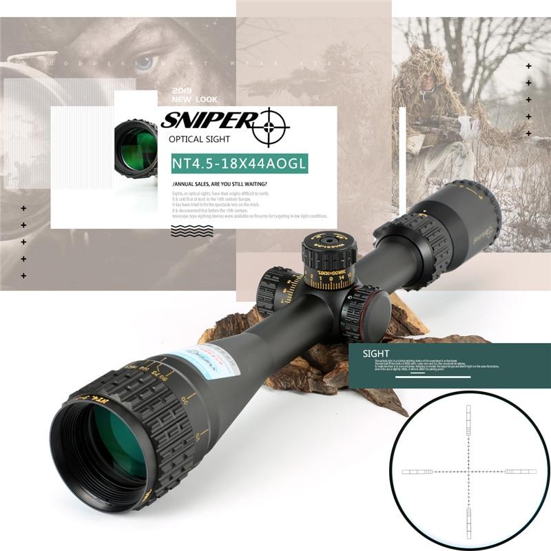 SNIPER NT 4,5-18X44 AOGL rifle óptico táctico de mira de tamaño completo Mil-Dot RGB alambre retícula de caza óptica rifle punto rojo