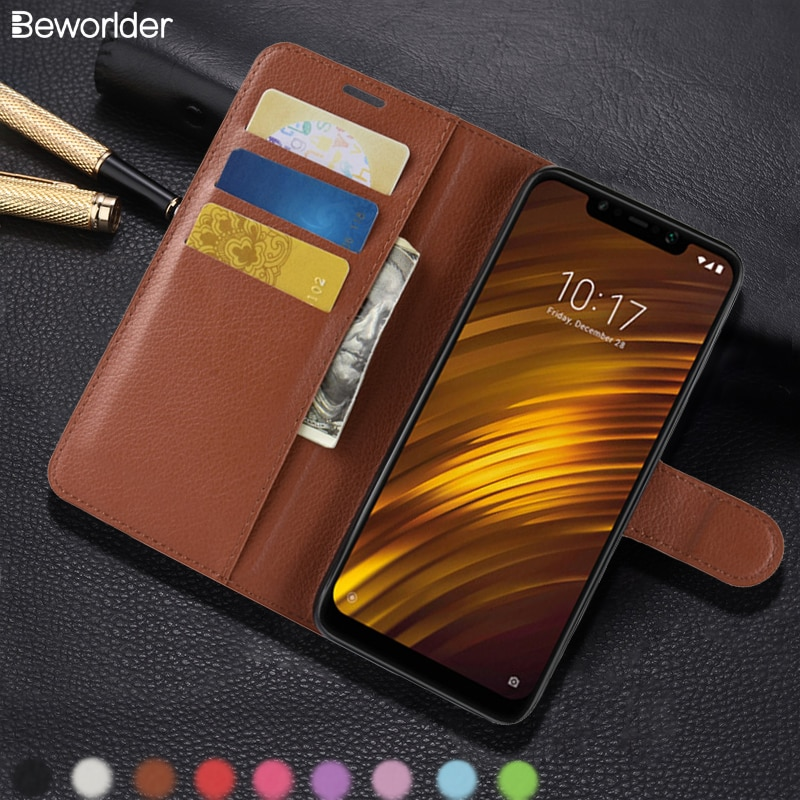 Beworlder For Xiaomi Pocophone F1 Case PU Leather Case Wallet Phone Cases Lichee Pattern Card Slots