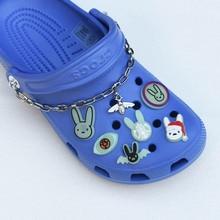 Accessori originali con fibbia per scarpe In PVC Glow In the Dark Charms Kawaii Bunny fluorescenza animali crocks braccialetti con ciondoli bambini
