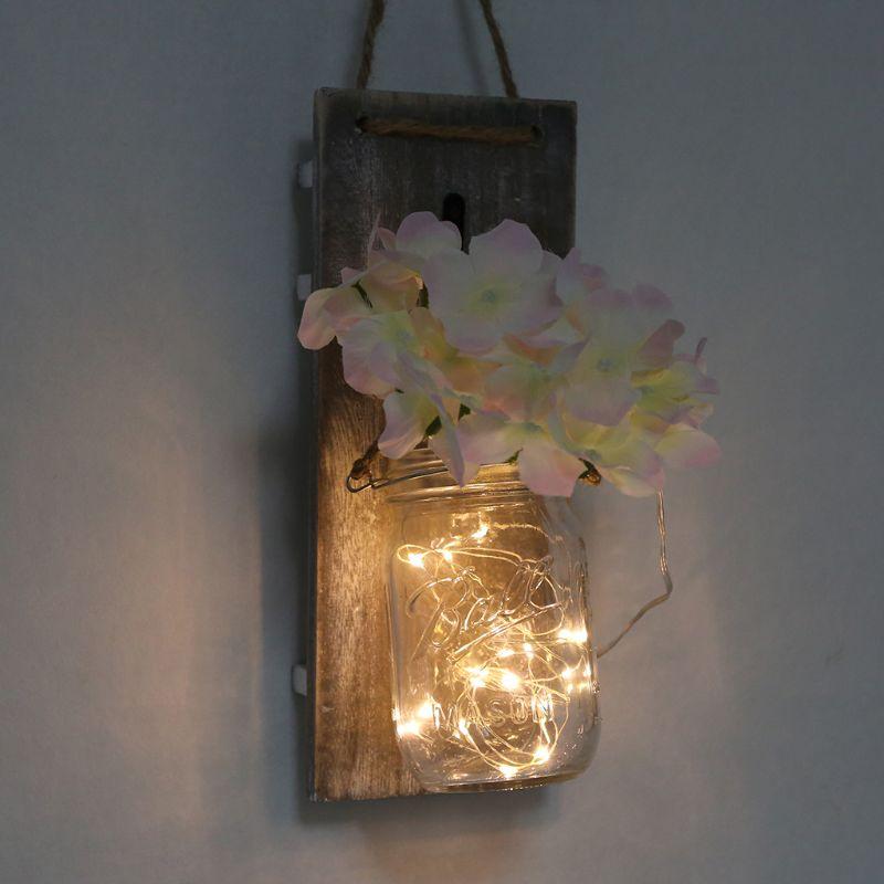 Fashion Rustic DIY Mason Jar Bottle Flower LED Fairy String Light Wall Sconces Lamp for Home Wedding Decoration