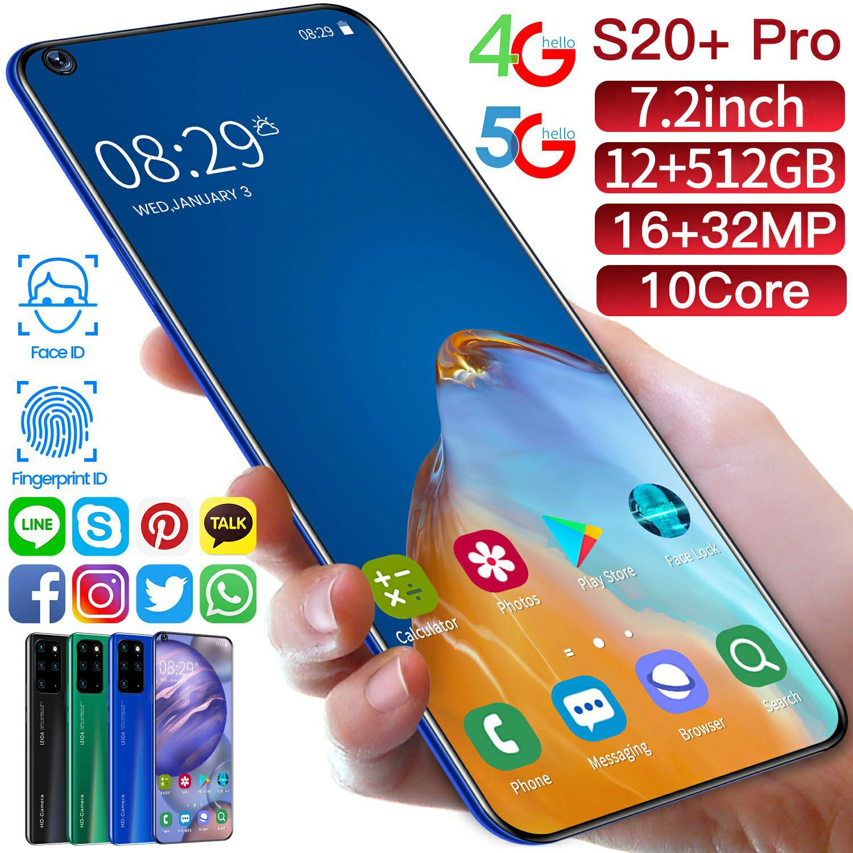 S20 + Pro الإصدار العالمي أندرويد 10.0 12 + 512GB 7.5 بوصة الهواتف المحمولة رقيقة جدا 4G 5G شبكة 16MP + 32MP الهاتف الذكي الخليوي