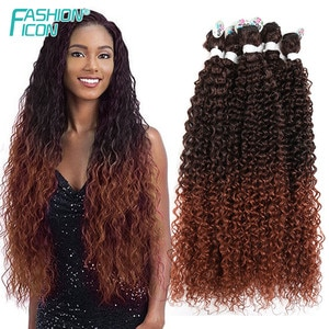 Synthetic Bundles Afro Kinky Curly Hair Extension Soft Super Long 16-20'' Natural Wavy Color Fake Hairpieces Fashion Icon