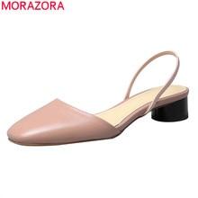 MORAZORA 2020 최신 여름 숙녀 신발 정품 가죽 얕은 캐주얼 단일 신발 두꺼운 발 뒤꿈치 광장 발가락 여성 펌프